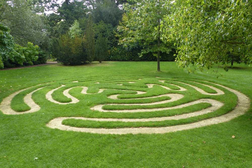 Turf maze at Burghley Sculpture Garden