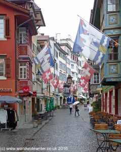 Flags in a Zurich street