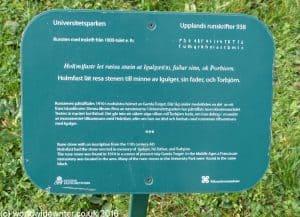 Rune stone information board in Uppsala