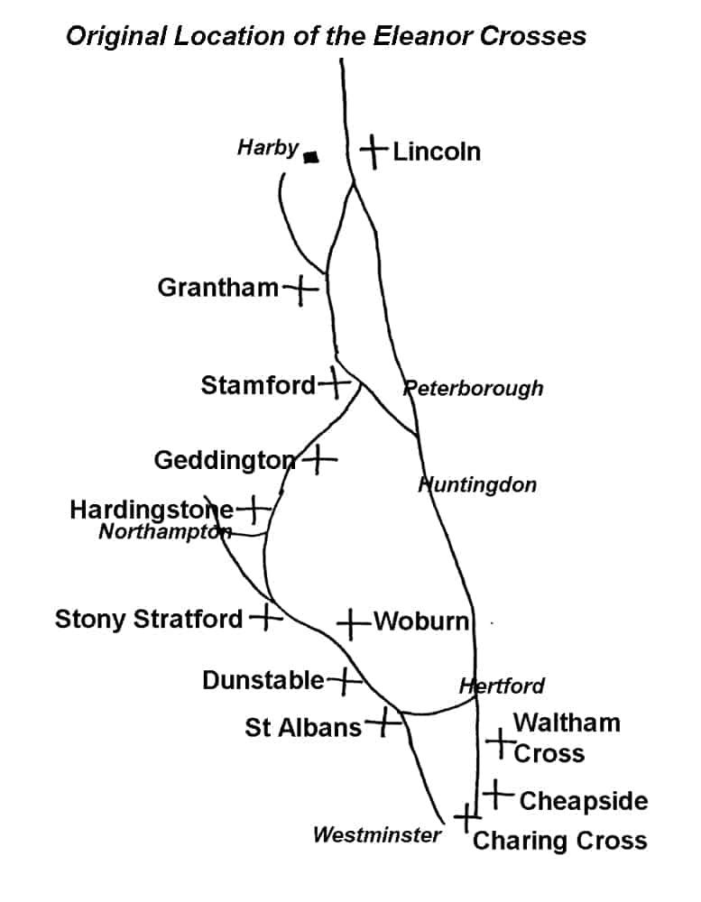 Location of the Eleanor Crosses