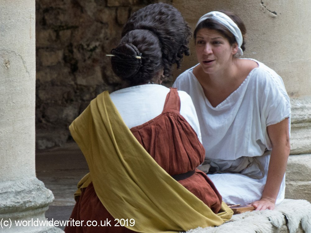 Characters in Roman costume at the Roman Baths in Bath