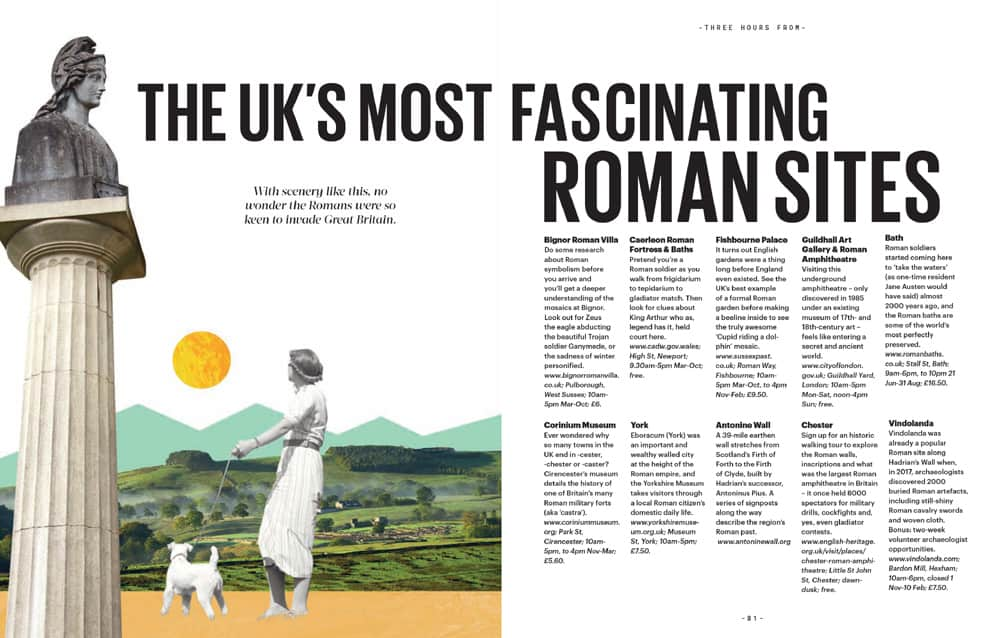 Page showing the UK's most fascinating Roman sites