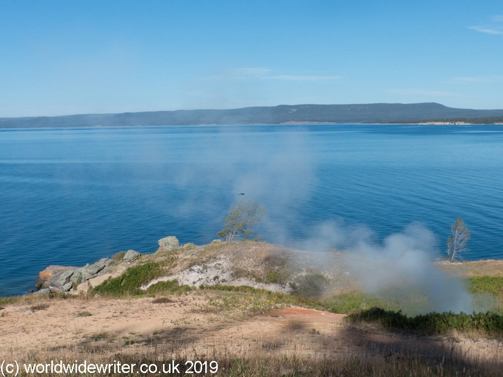 Rising steam on Yellowstone Lake