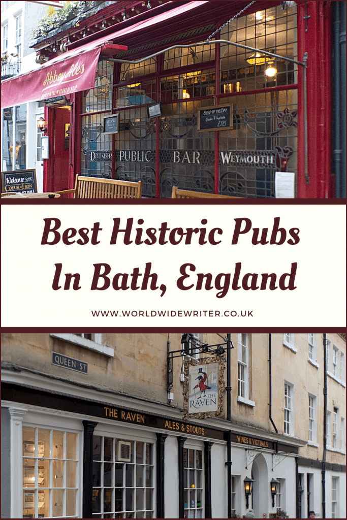 Pinnable image of the historic pubs in Bath, showing the exteriors of two pubs