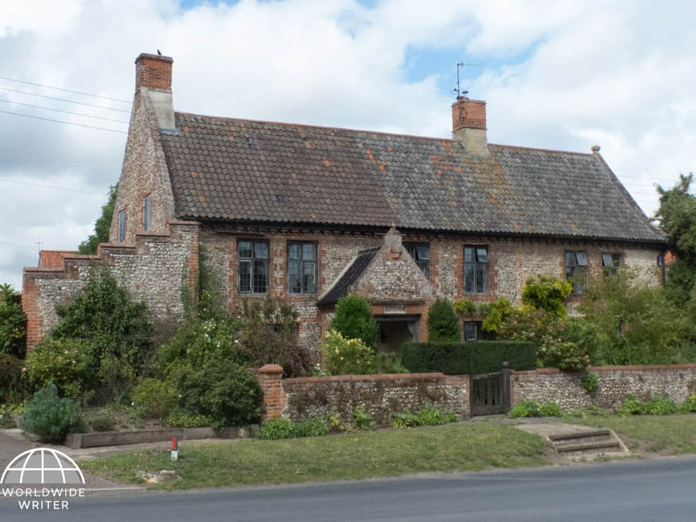 Typical Norfolk house with flint and red brick