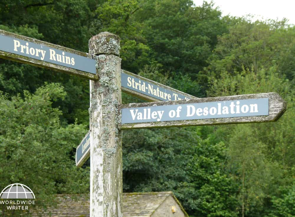 Signpost showing The Valley of Desolation