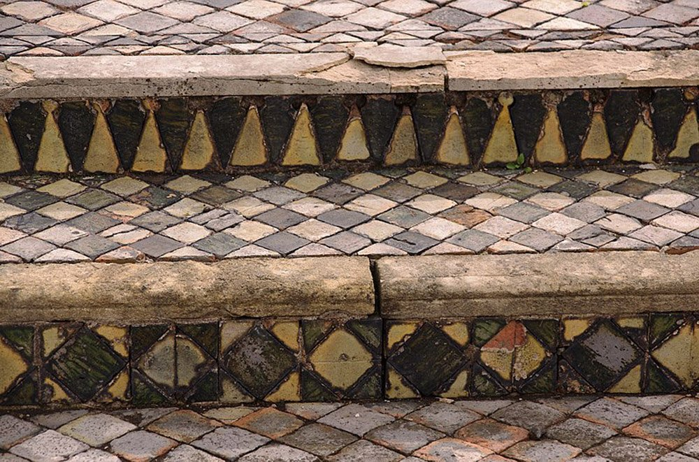 Steps with intricate tiled patterns