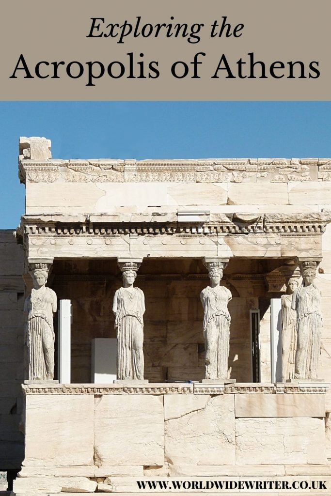 Pinnable image of the Acropolis of Athens, showing a temple with pillars in the shape of women