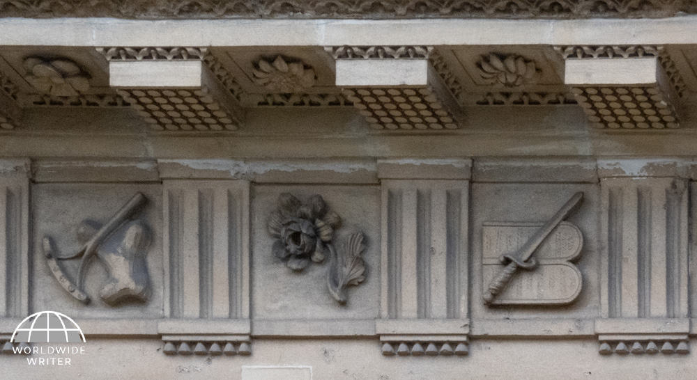 Stone carvings on the side of a building
