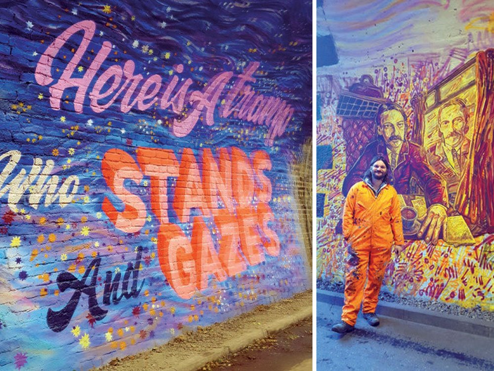 Two pictures of a mural in a tunnel, one with the artist standing next to a drawing of two men
