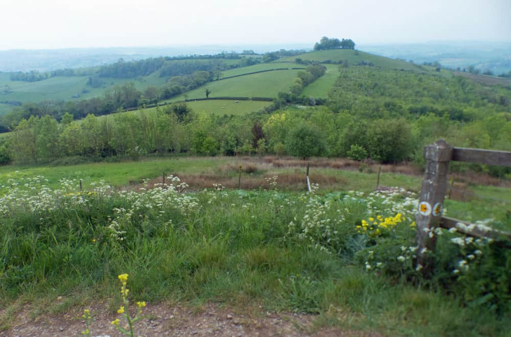 Hills and fields on the Cotswold Way