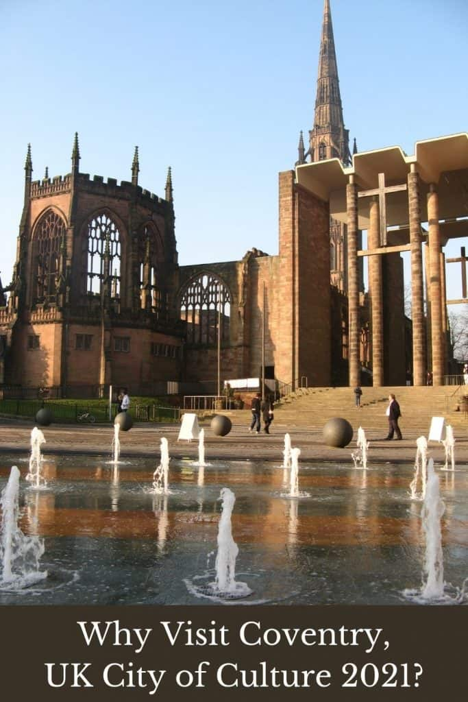 Pinnable image of Coventry Cathedral with water and fountains in front