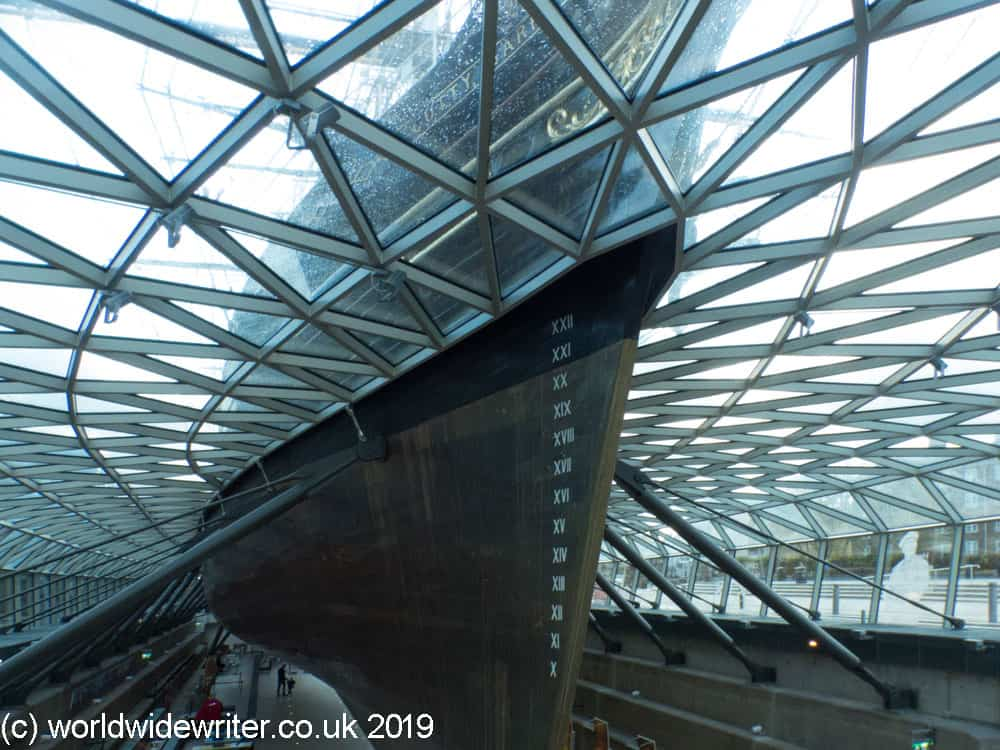 Beneath the hull of the Cutty Sark