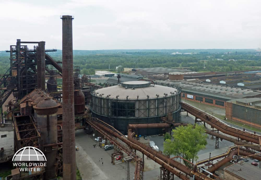 Looking down on the industrial buildngs of Dolni Vitkovice