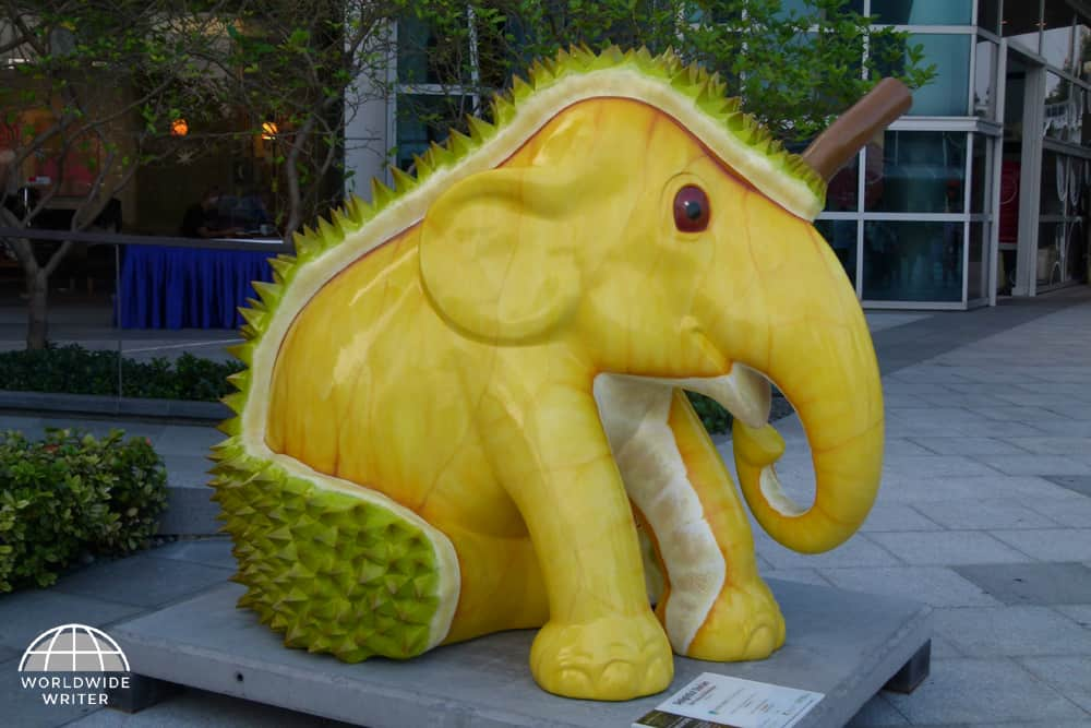 Model of a yellow elephant with skin like a durian