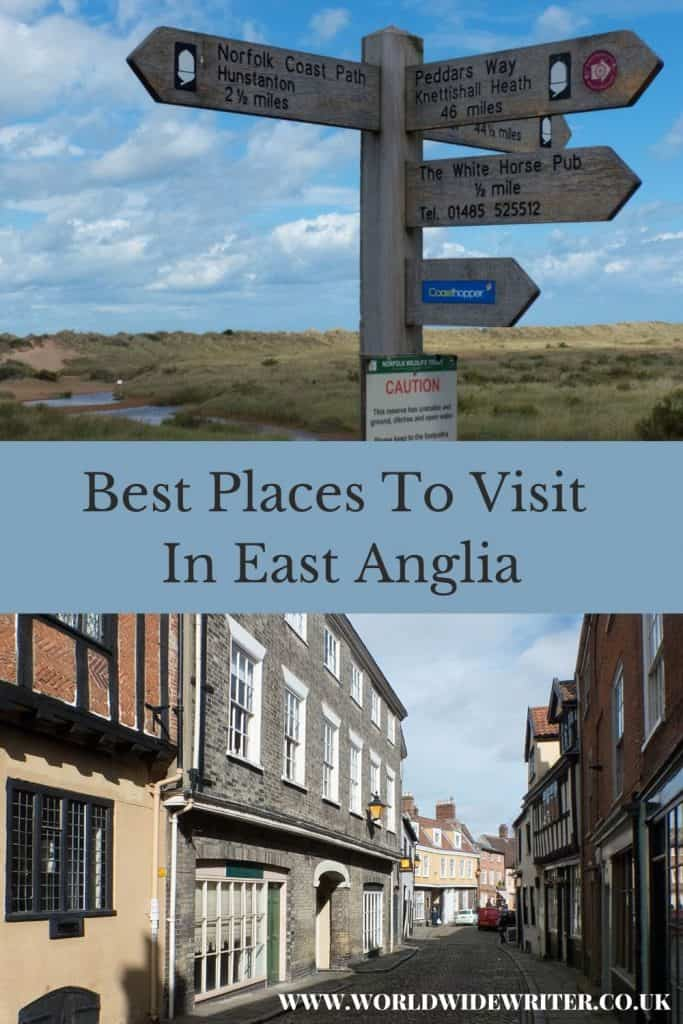 Pinnable image of places to visit in East Anglia - footpath signs on the Norfolk coast and an old street in Norwich