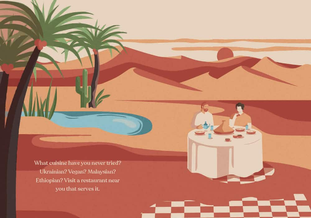 Picture of a dining table on a desert island
