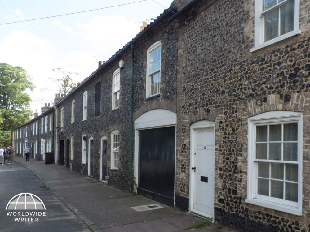 Row of flint covered cottages