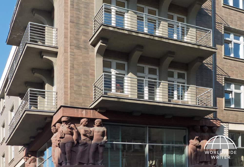Functionalist buildings with statues of workers