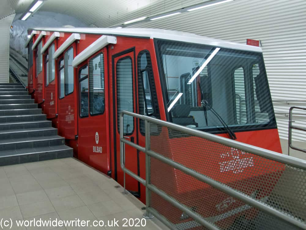 Red funicular train