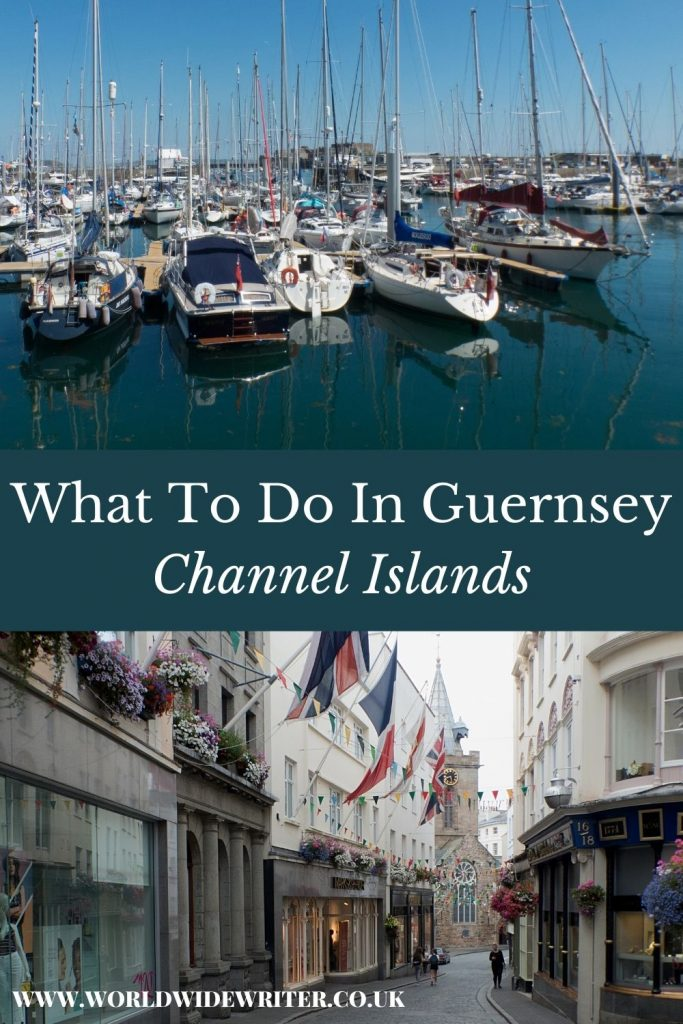 Pinnable image of what to do in Guernsey - harbour with boats, and street with shops, a church and flags