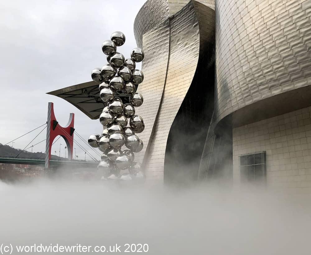 Fog sculpture outside the Guggenheim