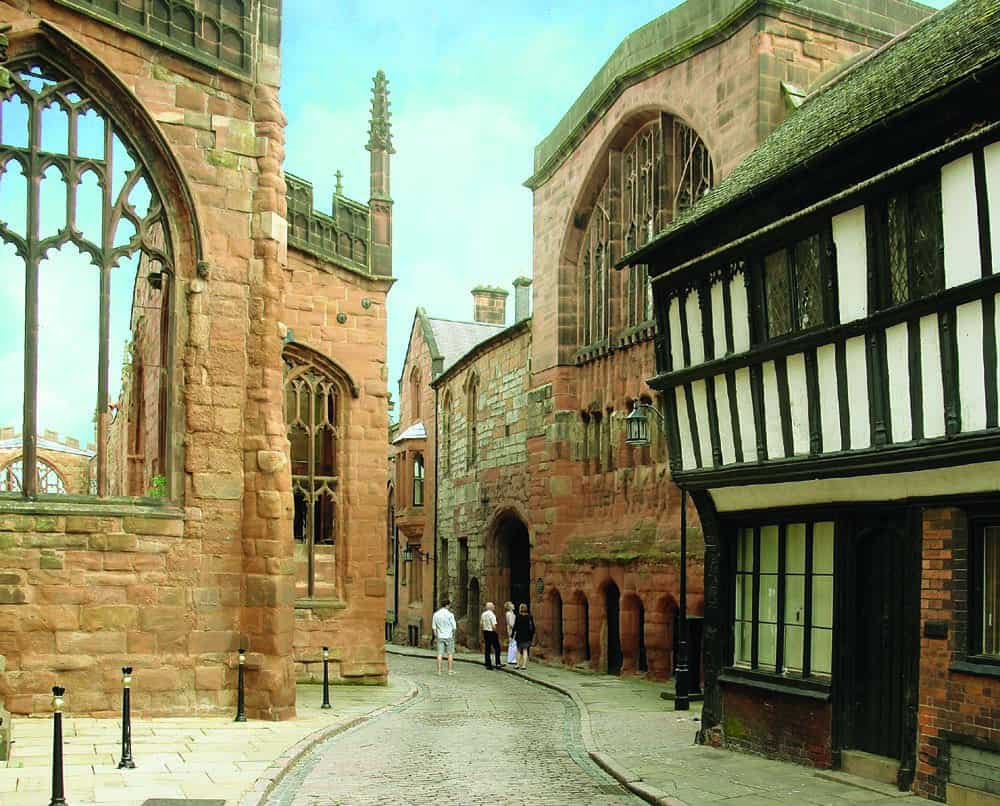 Medieval buildings in the centre of Coventry
