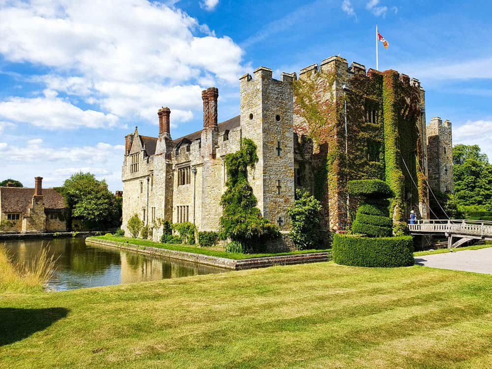 Hever Castle, with grassland and moat