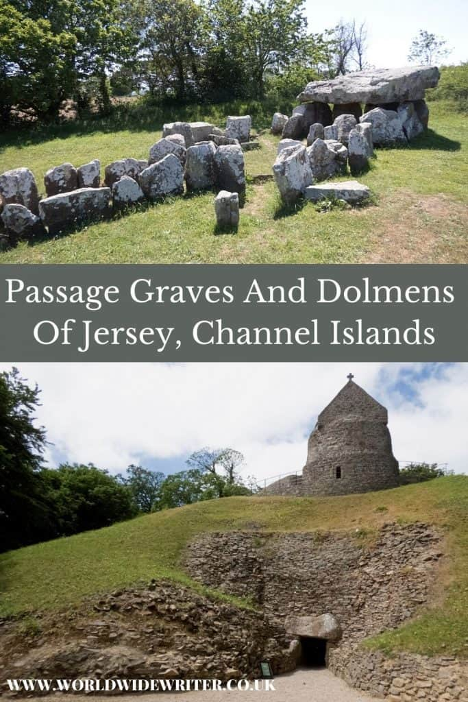 Pinnable image of the dolmens of Jersey - remains of a stone dolmen surrounded by grass and a grassy mound with tomb beneath and chapel on top