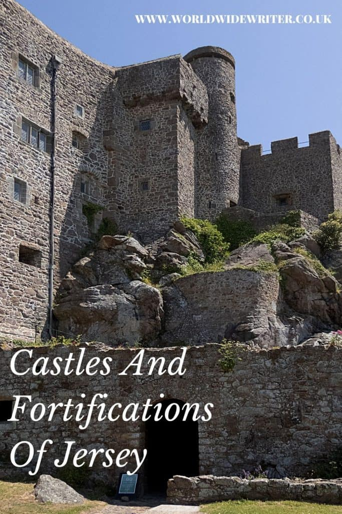 Pinnable image of the fortifications of Jersey showing a part of Mont Orgueil Castle clinging to the hill side