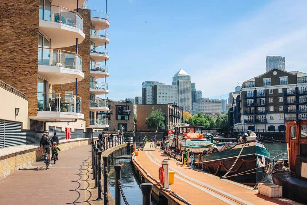 Buildings and dock at Limehouse, London