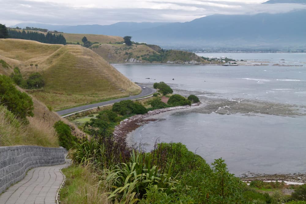 Looking over the sea from the Kaikoura Peninsula