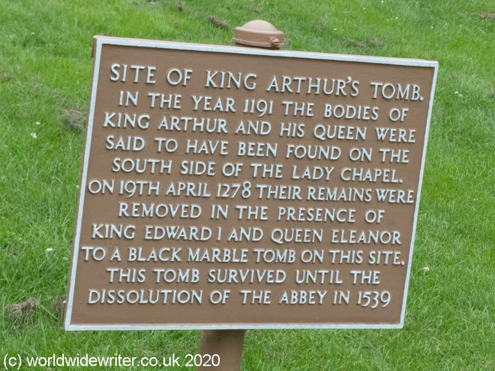 Plaque showing site of King Arthur's tomb