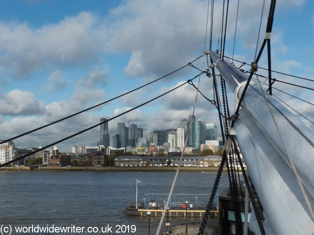 Looking at the London skyline from the Cutty Sark