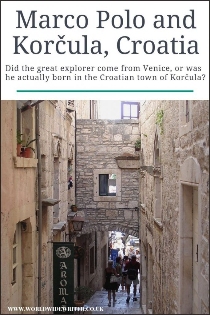 Pinnable image of Marco Polo and Korcula showing an old street and archway