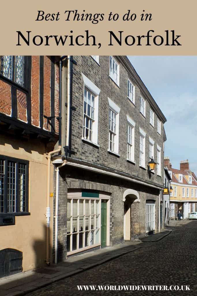 Pinnable image: Elm Hill, one of the things to do in Norwich