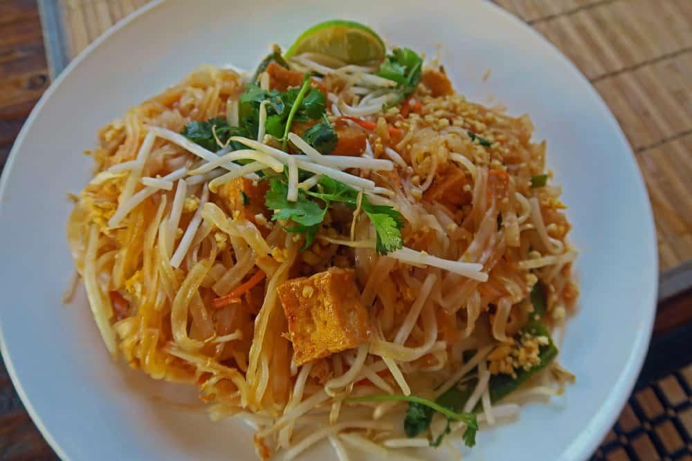 Dish of stir fried noodles