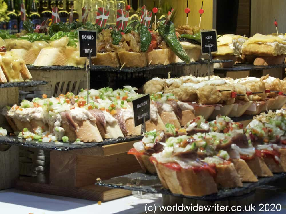Selection of pintxos in the market