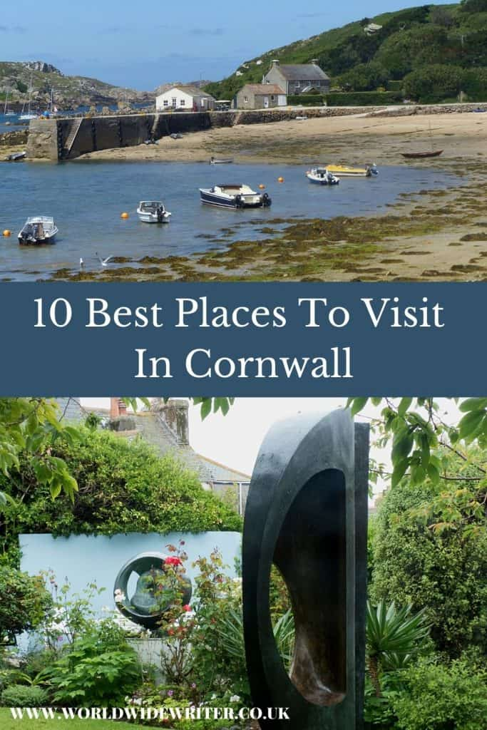 Pinnable image of places to visit in Cornwall - a bay with boats in the Scilly Isles and sculpture in Barbara Hepworth's garden