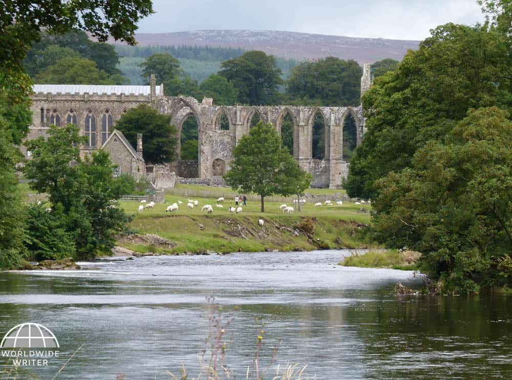 Abbey ruins with trees on either side, hills behind and water in front