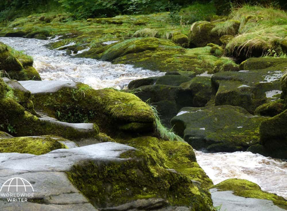Slippery rocks and fast flowing water