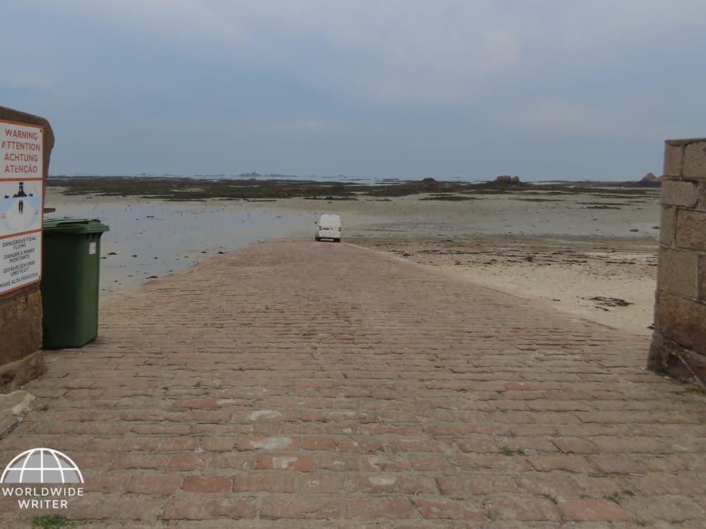 Slipway across the beach leading to the sea