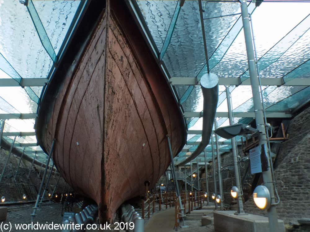 Beneath the hull of the S S Great Britain
