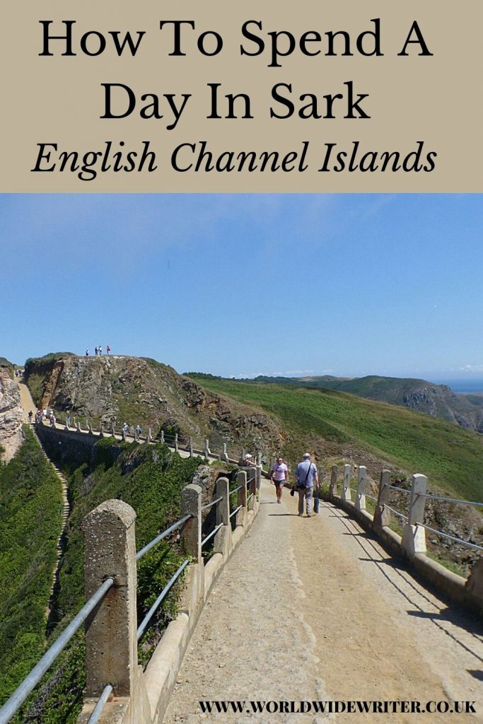 Pinnable image of a day in Sark showing the road across La Coupee