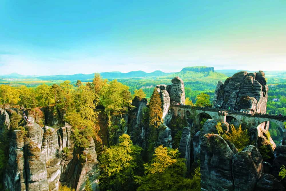 Bridge, forest and rock formations in Saxon Switzerland
