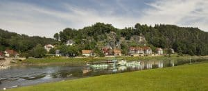 River, trees and hills in Saxon Switzerland