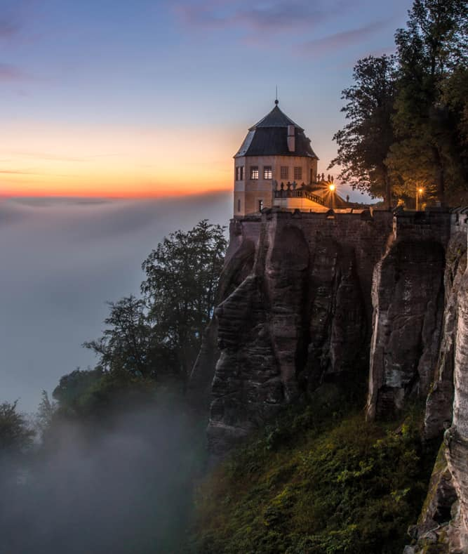 Konigstein Castle, on top of a tall rockface