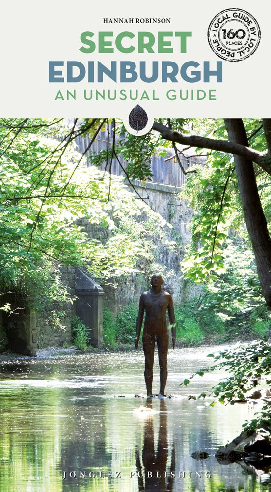 Cover of Secret Edinburgh, showing a cast iron sculpture of a person standing in the water
