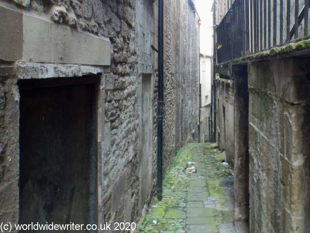 Narrow medieval street in Bath