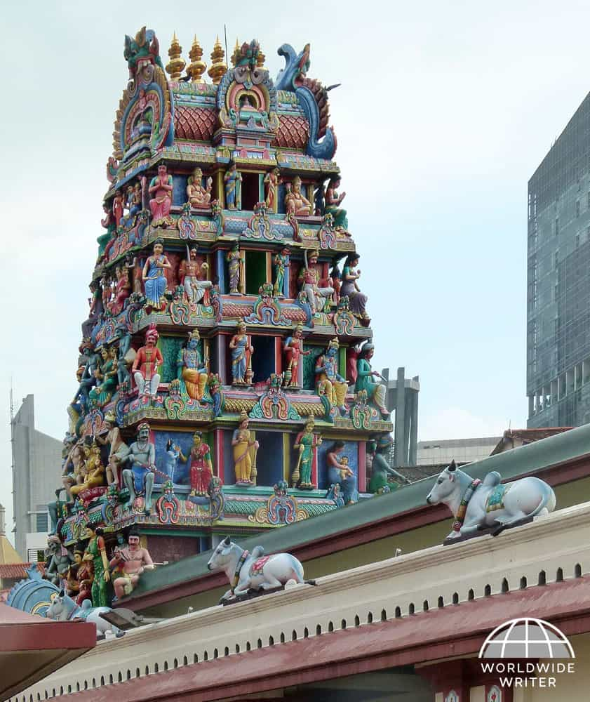 Temple tower with ornate colourful carvings